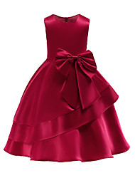 cheap -Ball Gown Knee Length Party / Wedding Flower Girl Dresses - Tulle Sleeveless Jewel Neck with Bow(s) / Tier