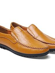 Недорогие -Муж. Кожаные ботинки Кожа Наступила зима На каждый день Мокасины и Свитер Нескользкий Черный / Оранжевый / Коричневый / Офис и карьера