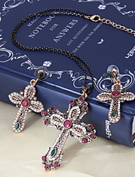 cheap -Women's Red Cubic Zirconia Drop Earrings Pendant Necklace Cross Ladies Stylish Vintage Elegant Italian Rhinestone Earrings Jewelry Dark Red For Party Ceremony Cocktail Party Prom Promise 1 set