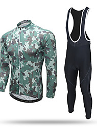 cheap -XINTOWN Men's Long Sleeve Cycling Jersey with Bib Tights Camouflage Camo / Camouflage Bike Pants / Trousers Jersey Bib Tights Breathable 3D Pad Reflective Strips Back Pocket Sweat-wicking Winter