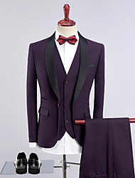 cheap -Solid Colored Tailored Fit Wool Blends / Polyster Suit - Shawl Collar Single Breasted One-button / Suits