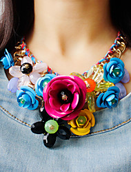 cheap -Women's Multicolor Statement Necklace Bib necklace Braided Bib Flower Ladies Luxury Chunky Color Synthetic Gemstones Alloy Green Pink Rainbow Necklace Jewelry 1pc For Party Special Occasion Birthday