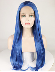cheap -Synthetic Lace Front Wig Straight Natural Straight Free Part Lace Front Wig Long Blue Synthetic Hair 16-26 inch Women's Soft Smooth Adjustable Blue / Heat Resistant / Heat Resistant