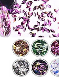 cheap -Acrylic Glitter Powder 3D Nail Stickers Sequins For Finger Nail Toe Nail Color-Changing / Best Quality Romantic Series nail art Manicure Pedicure Trendy / Korean Daily / Masquerade