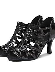 """Недорогие -Жен. Танцевальная обувь Искусственная кожа Обувь для латины Планка На каблуках Каблук """"Клеш"""" Черный / Выступление / Тренировочные / EU42"""