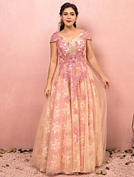 cheap -A-Line Floral Pink Prom Formal Evening Dress V Neck Short Sleeve Floor Length Lace Satin Tulle with Appliques 2020