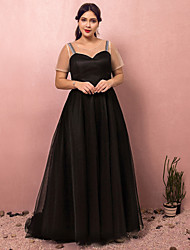 cheap -A-Line Plus Size Black Engagement Formal Evening Dress Jewel Neck Short Sleeve Court Train Satin Tulle with Pleats 2020 / Illusion Sleeve