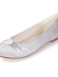 abordables -Femme Chaussures de mariage Talon Plat Bout rond Strass Satin Doux Printemps été Blanche / Pourpre foncé / Ivoire / Mariage / Soirée & Evénement