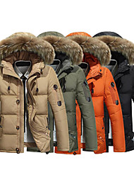 cheap -Men's Hiking Down Jacket Winter Outdoor Thermal / Warm Waterproof Windproof Breathable Down Jacket Winter Jacket Top Duckdown Waterproof Camping / Hiking Hunting Climbing Black / Orange / Army Green