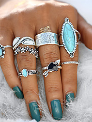 cheap -Women's Statement Ring Knuckle Ring Ring Set Turquoise 8pcs Silver Alloy Geometric Statement Ladies Unusual Gift Evening Party Jewelry Vintage Style Heart Flower Aquarius Cool Lovely