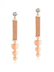 cheap -Women's White AAA Cubic Zirconia Drop Earrings Long Link / Chain Heart Ladies Trendy Korean Titanium Steel Rose Gold Plated Earrings Jewelry Rose Gold For Street 1 Pair