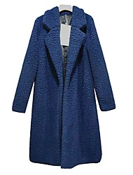 cheap -Women's Daily / Holiday / Going out Vintage / Street chic Spring / Fall & Winter Long Trench Coat, Solid Colored Turndown Long Sleeve Cotton / Polyester / Wool Blend Blushing Pink / Navy Blue / Gray