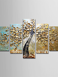 cheap -Oil Painting Hand Painted Floral / Botanical Modern Stretched Canvas / Five Panels With Stretched Frame