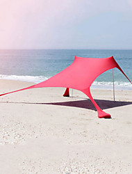 cheap -4 person Camping Shelter Outdoor UV Resistant Rain Waterproof Fast Dry Single Layered Poled Camping Tent 2000-3000 mm for Beach Camping / Hiking / Caving Traveling UV Lycra Spandex 200*200*170 cm