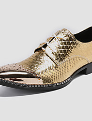 cheap -Men's Novelty Shoes Nappa Leather Spring / Fall Casual / British Oxfords Non-slipping Gold / Wedding / Party & Evening / Party & Evening / Dress Shoes