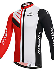 cheap -XINTOWN Men's Long Sleeve Cycling Jersey White Bike Jersey Top Mountain Bike MTB Road Bike Cycling Breathable Quick Dry Ultraviolet Resistant Sports Winter Elastane Terylene Clothing Apparel