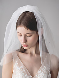 cheap -Three-tier Stylish / Sweet Style Wedding Veil Shoulder Veils with Crystals / Rhinestones 19.69 in (50cm) Cotton / nylon with a hint of stretch / Angel cut / Waterfall