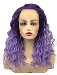 cheap -Synthetic Lace Front Wig Curly Middle Part Lace Front Wig Long Bright Purple Synthetic Hair 22 inch Women's Synthetic Purple