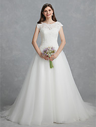 cheap -Ball Gown Wedding Dresses Scoop Neck Court Train Lace Tulle Cap Sleeve Cutouts with Lace Beading 2021
