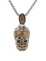 cheap -Men's Pendant Necklace Statement Necklace Engraved Mexican Sugar Skull Gabbra Vintage Punk Hip-Hop Skeleton Titanium Steel Gold 50 cm Necklace Jewelry 1 set For Party / Evening Carnival Cosplay