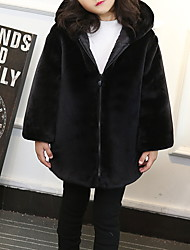 cheap -Kids Toddler Girls' Basic Solid Colored Long Sleeve Faux Fur Suit & Blazer Black