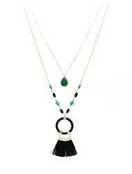 Недорогие -Жен. Зеленый Изумруд Слоистые ожерелья С кисточками колос Дамы Стиль Этнический Элегантный стиль деревянный Плетеные изделия Дерево Темно-зеленый 110 cm Ожерелье Бижутерия 1шт Назначение