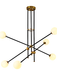 cheap -6-Light 87 cm Adjustable Chandelier Metal Glass Sputnik Electroplated / Painted Finishes Contemporary / Antique 110-120V / 220-240V