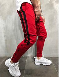 cheap -Men's Basic / Street chic Daily Sports Harem / Sweatpants Pants - Striped / Color Block Black & Red / Black & White, Drawstring Black Red Yellow XL XXL XXXL