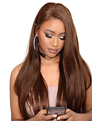 cheap -Remy Human Hair Full Lace Lace Front Wig Asymmetrical Wendy style Brazilian Hair Straight Natural Straight Natural Brown Wig 130% 150% 180% Density Soft Women Easy dressing Best Quality Natural
