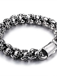 cheap -Men's Chain Bracelet Vintage Style Skull Stylish Vintage Korean Titanium Steel Bracelet Jewelry Black / Silver For Halloween Street