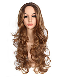 cheap -Synthetic Wig Ombre Body Wave Natural Wave Middle Part Wig Blonde Long Strawberry Blonde / Light Blonde Synthetic Hair 26-28 inch Women's Party Classic Synthetic Blonde Brown