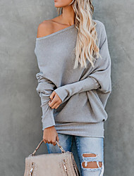 cheap -Women's Daily Basic Solid Colored Long Sleeve Slim Regular Pullover Sweater Jumper, Off Shoulder Fall / Winter Cotton Black / Wine / White S / M / L