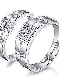 cheap -Couple's Couple Rings Groove Rings 2pcs Silver Rhinestone Alloy Ladies Romantic Boyfriend Wedding Gift Jewelry Classic Matching His And Her Heart Relationship