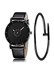 cheap -Men's Dress Watch Quartz Gift Set Leather Black / White Chronograph Cool Analog Classic Sparkle Fashion - White Black Black / White One Year Battery Life