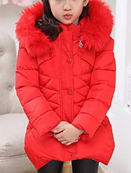 cheap -Kids Girls' Active / Street chic Solid Colored Fur Trim Long Sleeve Long Polyester Down & Cotton Padded Pink