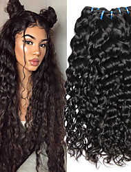 cheap -3 Bundles Indian Hair Water Wave Human Hair Unprocessed Human Hair Natural Color Hair Weaves / Hair Bulk Hair Care Extension 8-28 inch Natural Color Human Hair Weaves Life Party Thick Human Hair
