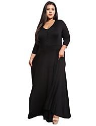 cheap -Women's Plus Size Party Elegant Maxi A Line Dress High Waist Deep V Fall Black Royal Blue XXXL 4XL XXXXXL / Sexy
