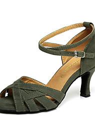"""Недорогие -Жен. Танцевальная обувь Замша Обувь для латины Стразы На каблуках Каблук """"Клеш"""" Темно-красный / Зеленый / Выступление / Тренировочные"""