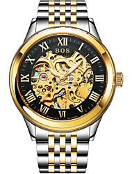 Недорогие -Angela Bos Муж. Часы со скелетом Механические часы С автоподзаводом Нержавеющая сталь Золотистый 30 m Защита от влаги Повседневные часы Аналоговый На каждый день Мода -