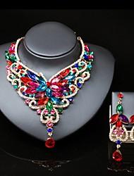 cheap -Women's Multicolor Cubic Zirconia Drop Earrings Bib necklace Trace Pear Ladies Stylish Luxury Elegant Color fancy Resin Earrings Jewelry Red / Green / Blue For Wedding Party 1 set