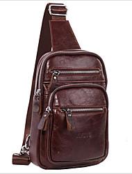 cheap -Men's Zipper Cowhide Sling Shoulder Bag Brown / Dark Brown