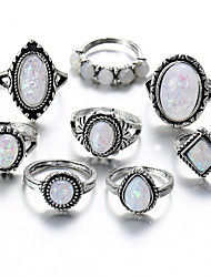 cheap -Ring Set Opal Vintage Style Silver Alloy Pear Statement Ladies Unusual 8pcs / Women's / Moonstone
