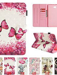 cheap -Case For Samsung Galaxy Tab E 9.6 / Tab A 10.1 (2016) Card Holder / with Stand / Flip Full Body Cases Animal / 3D Cartoon / Flower Hard PU Leather