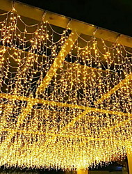 cheap -4m String Lights 96 LEDs  Curtain Light Warm White Blue White RGB  8 Modes Christmas Decorative Garden Yard Decoration Lamp Outdoor Waterproof 220-240 V  110V-120 1 set