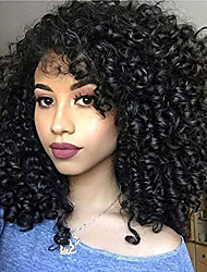 cheap -Remy Human Hair Full Lace Lace Front Wig Asymmetrical Rihanna style Brazilian Hair Afro Curly Kinky Curly Black Wig 130% 150% 180% Density with Baby Hair Adjustable Easy dressing Hot Sale curling