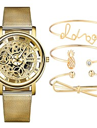 cheap -Couple's Skeleton Watch Wrist Watch Quartz Gift Set Silver / Gold Chronograph Hollow Engraving Creative Analog Casual Fashion - Gold Silvery / White One Year Battery Life