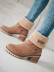 cheap -Women's Boots Snow Boots Chunky Heel Round Toe Suede Minimalism Fall & Winter Camel / Orange / Green / Color Block