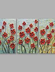 cheap -Oil Painting Hand Painted - Floral / Botanical Modern Stretched Canvas / Three Panels