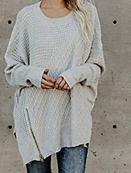 cheap -Women's Daily Basic Solid Colored Long Sleeve Batwing Sleeve Loose Long Pullover Sweater Jumper, Round Neck Black / Wine / White S / M / L
