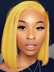 cheap -Remy Human Hair Lace Front Wig Bob Short Bob Minaj style Brazilian Hair Straight Blonde Wig 130% Density with Baby Hair Silky Women Natural Hairline Bleached Knots Women's Short Human Hair Lace Wig